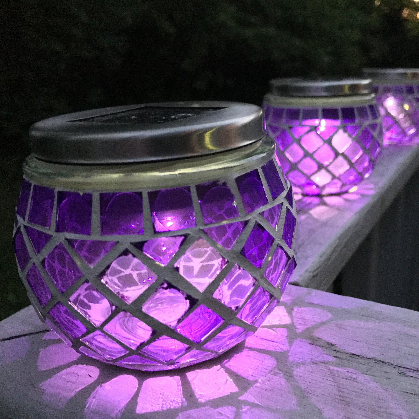 Pomegranate Solutions Solar Mosaic Glass Ball Lanterns - Set of 3