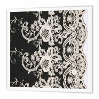 3dRose White flower lace pattern on black , Iron On Heat Transfer, 10 by 10-inch, For White Material