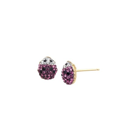 - Girl's Lady Bug Stud Earrings with Pink Swarovski Crystal in 14kt Gold-Plated Sterling Silver