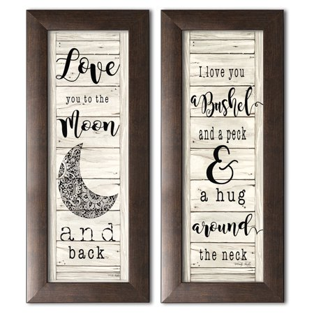 - Gango Home Decor Country-Rustic Love You to the Moon and Back & Hug Around the Neck by Cindy Jacobs (Ready to Hang); Two 6x18in Brown Framed Prints