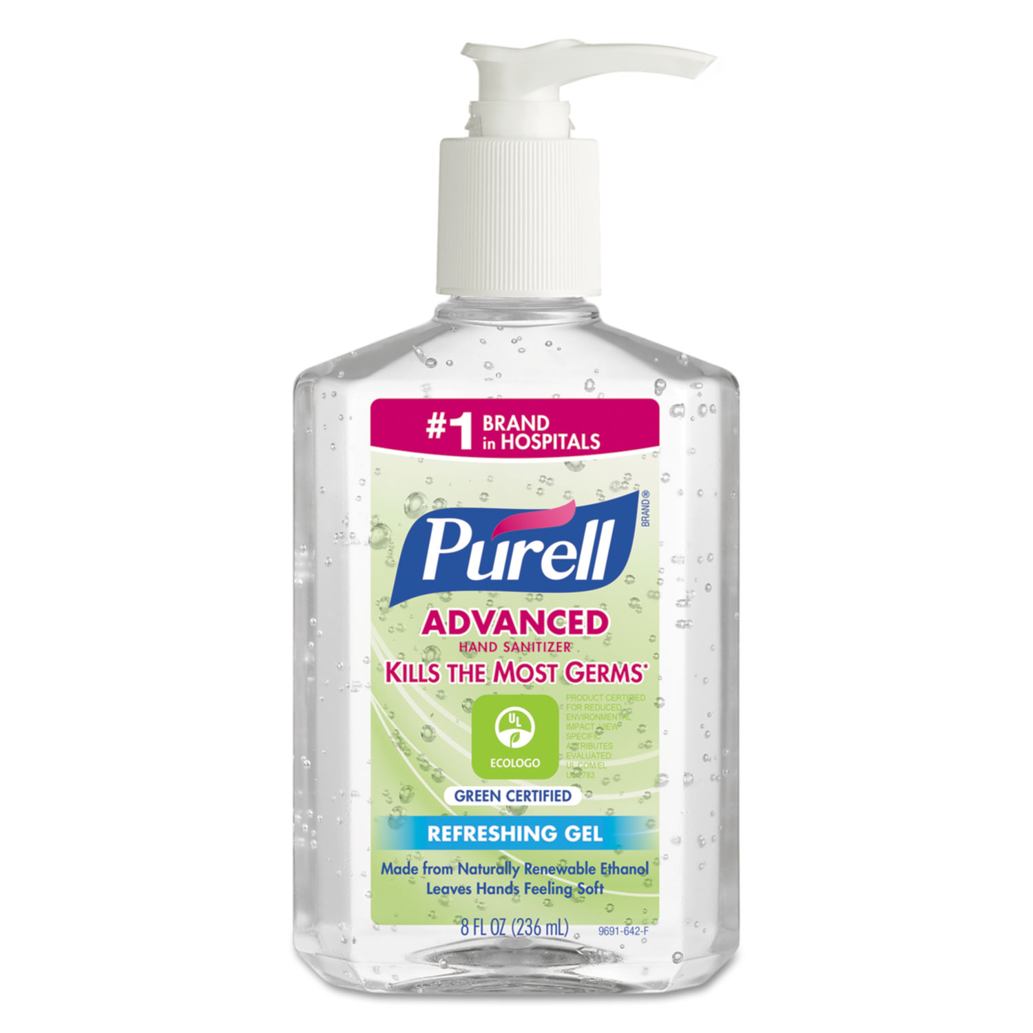 Purell 969112 Green Certified Instant Hand Sanitizer Gel, 8 oz Pump Bottle, Clear