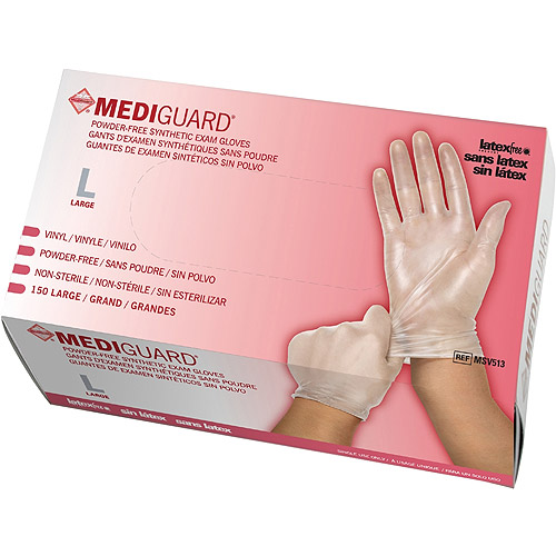 Medline Powder-Free Synthetic Vinyl Exam Gloves, Large, Case of 150