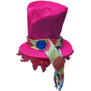 Adult's Hobo Clown Polka Dot Pink Top Hat With Wig Costume Accessory