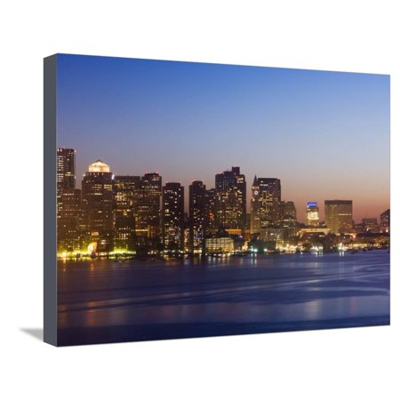 City Skyline at Dusk, Boston, Massachusetts, USA Stretched Canvas Print Wall Art By Amanda Hall