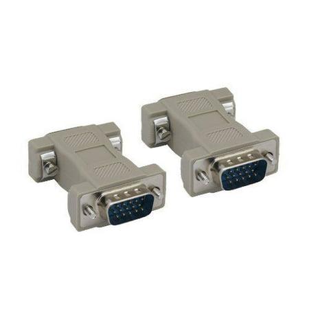 Kentek HD15 15 Pin Male to Male M/M VGA SVGA Port Adapter Gender Changer Coupler Converter (Male Molded Gender Changer)