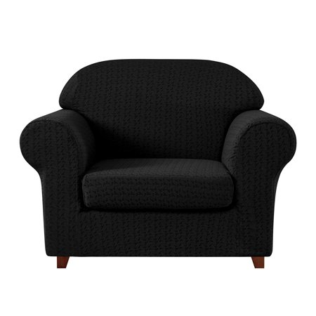 Subrtex 2-Piece Jacquard Fabric Stretch Chair Slipcovers, Black Embossed