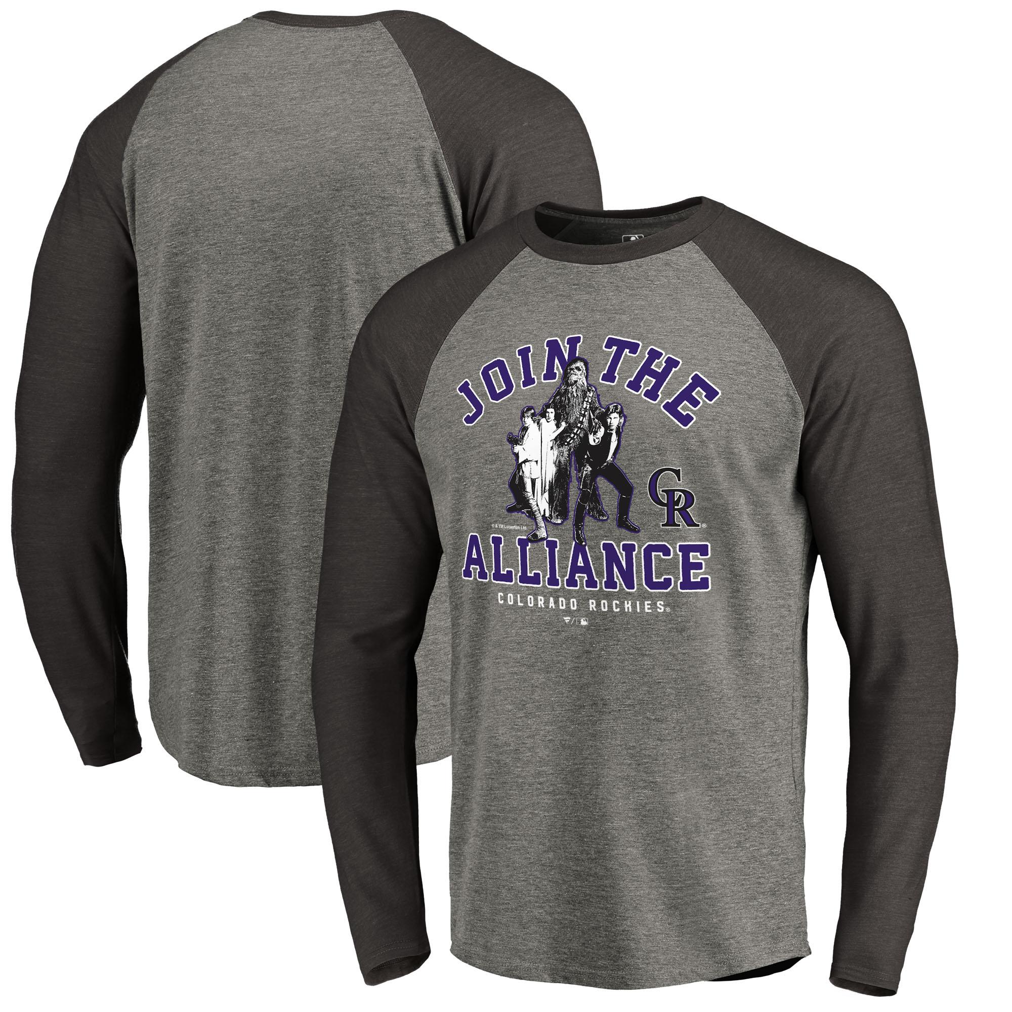 Colorado Rockies Fanatics Branded MLB Star Wars Join The Alliance Raglan Long Sleeve T-Shirt - Heather Gray