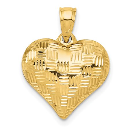 14k Yellow Gold Basket Weave Pattern 3 D Heart Pendant Charm Necklace Love Puffed Gifts For Women For Her