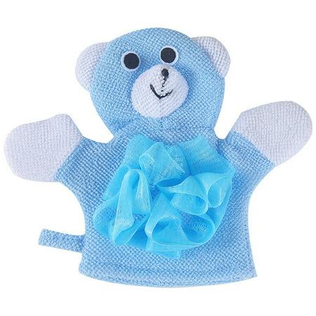 - 1 Pc Compound Cotton Children Bath Rub Gloves Shower Body Wash Puff Mesh