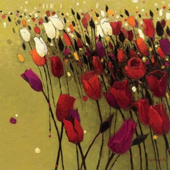 Tulip Drift Green Poster Print by Shirley Novak (20 x 20)