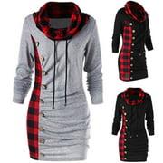 Womens Long Sleeve Plaid Jumper Sweater Sweatshirt Dress Loose Casual Xmas Tops