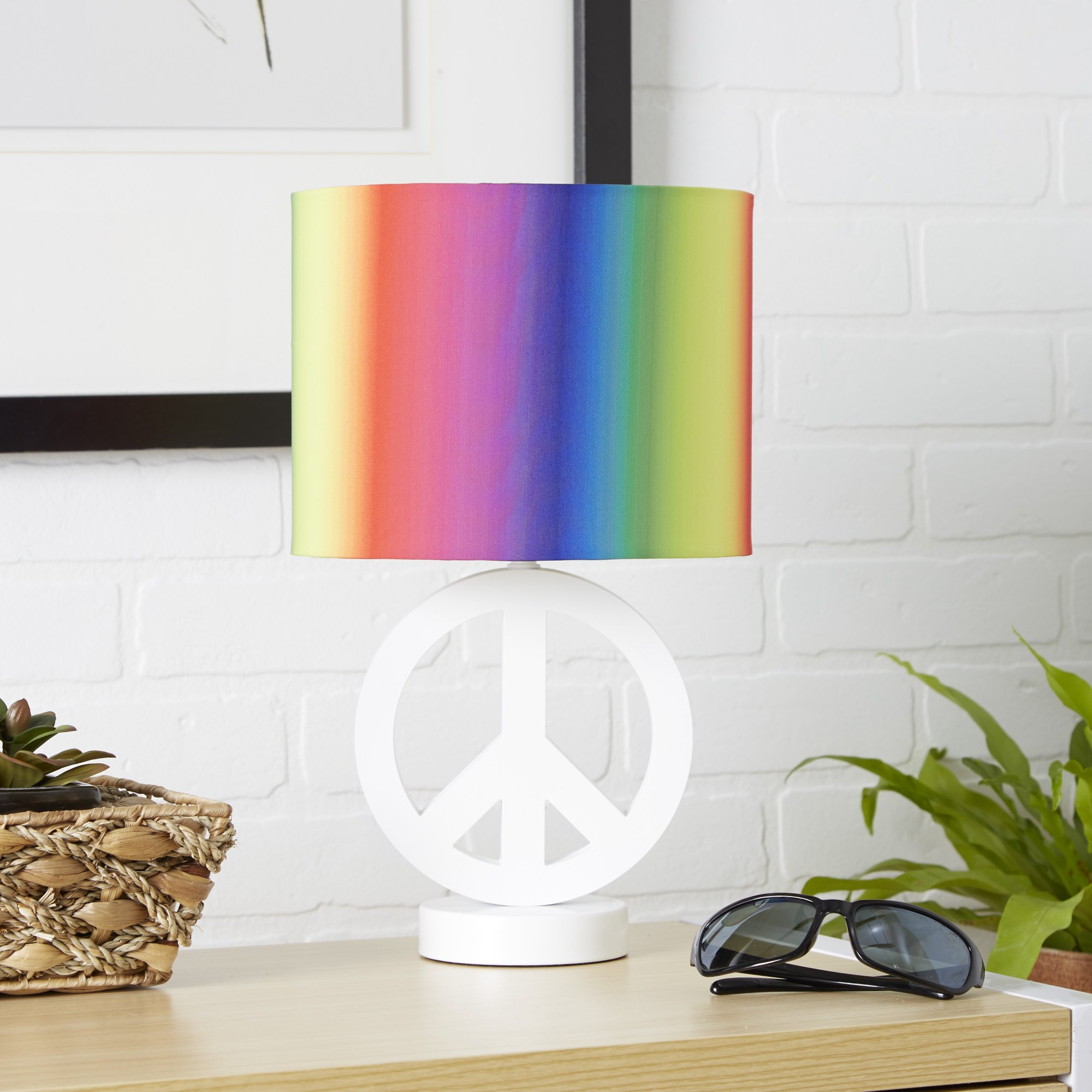 Your Zone Arctic White Peace Sign Table Lamp with Rainbow Drum Shade