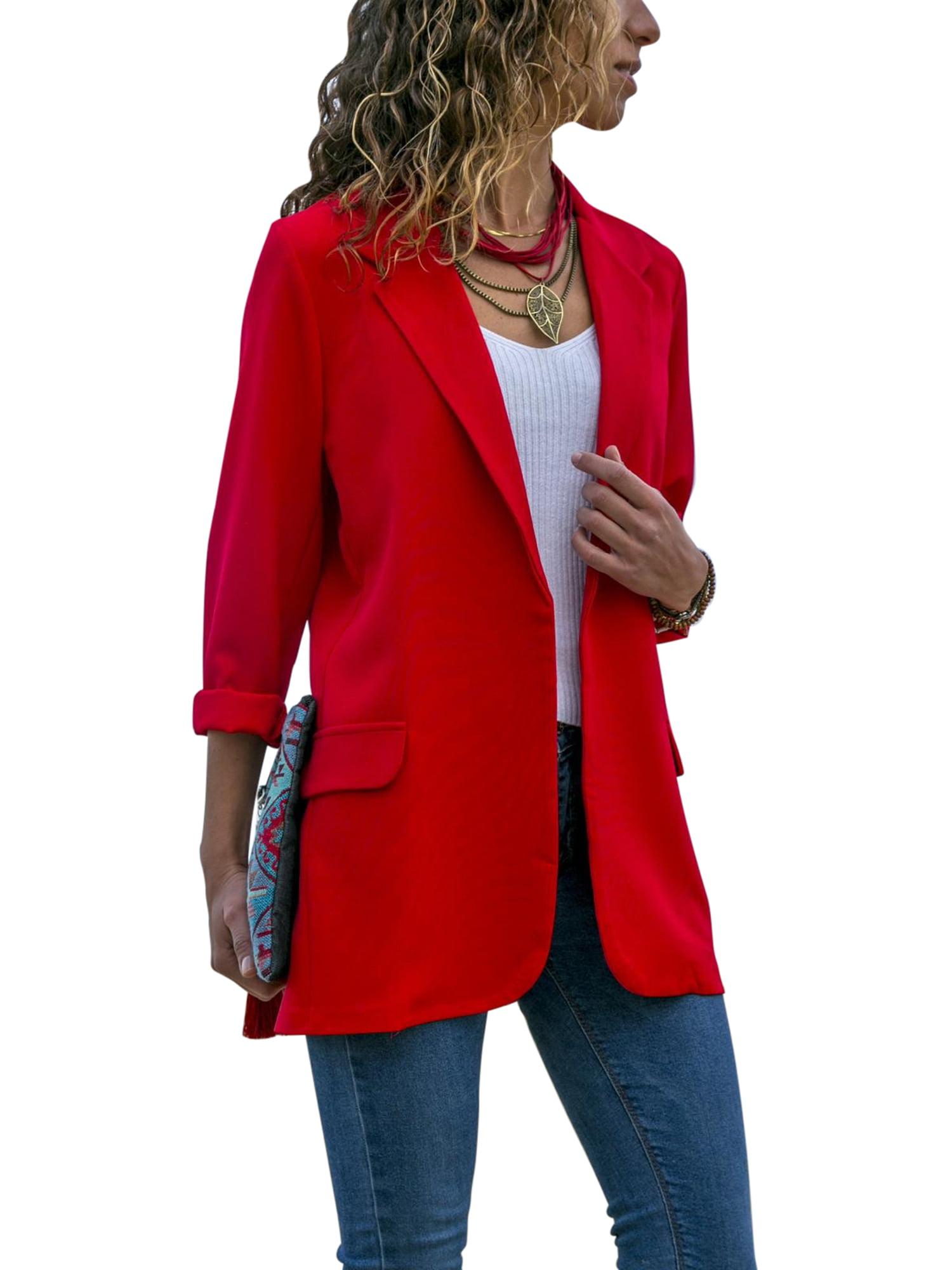Womens Long Sleeve Belted Jacket Top Plain Basic Open Short New Ladies Blazer