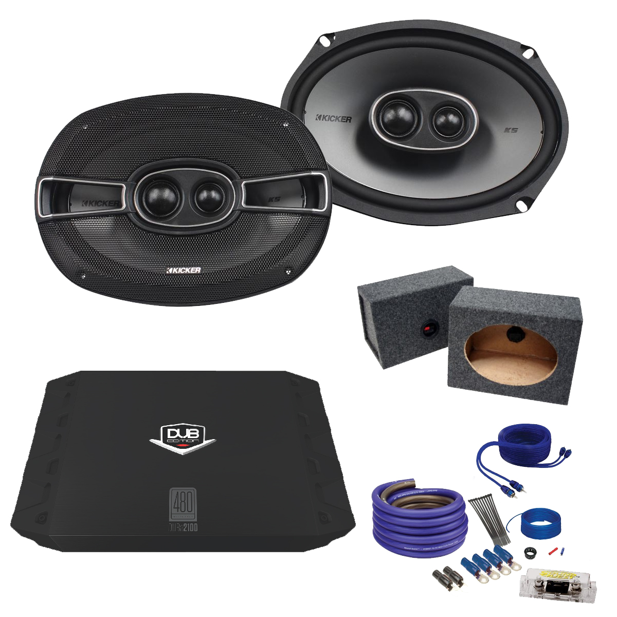 Kicker 6x9 41KSC6934 Bundle with DUBA2100 200 Watt Amplifier + Enclosure + Wire Kit