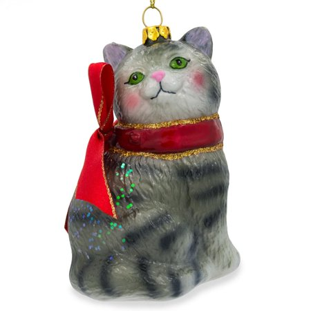 Cheshire Cat Ornament (Striped Siberian Cat with Bow Glass Christmas Ornament 4.25 Inches )