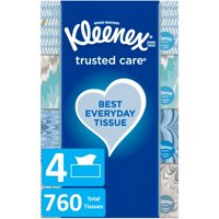 Kleenex Trusted Care Everyday Facial Tissues, 4 Flat Boxes, 190 Tissues per Box (760 Tissues Total)