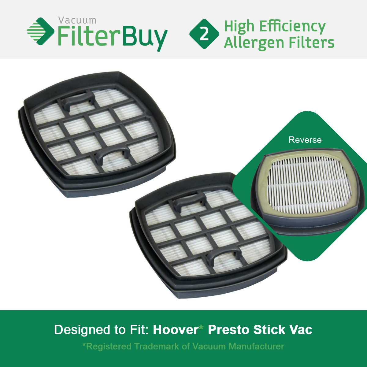 2 - Hoover Presto Stick Vacuum Filter, Part # 440002094.  Designed by FilterBuy to replace Hoover Presto 2-in-1 Cordless Stick Vacuum.
