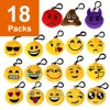 The Elixir Party 18 Pack Mini Emoji Plush Pillows, Mini Keychain Decorations for Party Decoration, Party Supplies Favors, No-Repeated