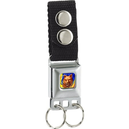 - Altered Beast Pixelated Wolf Face Flames Full Color Blues/Yellow-Orange Seatbelt Buckle Keychain