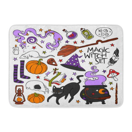 White Skull Star (GODPOK Feather Candle Magic Witch Black Cat Hat Halloween Pumpkin Potion Skull Book Stars Objects on White Cute Rug Doormat Bath Mat 23.6x15.7 inch )