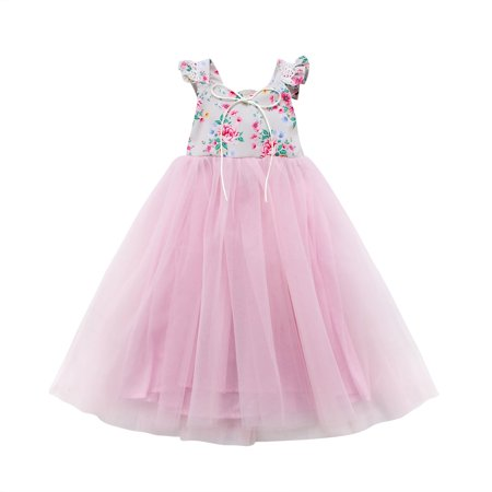 Kids Baby Girls Maxi Long Dress Sleeveless Party Dress Summer Sundress Clothes 1-7Y - Kids Maxi Dress