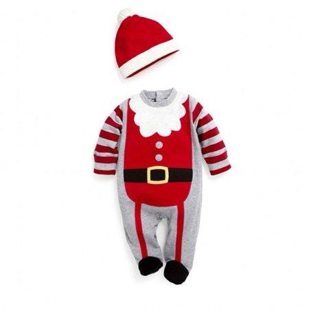 Santa Baby Boys Girls Christmas Bodysuit Romper Hat Headband Outfits Set Sz 0~24M - image 5 of 5