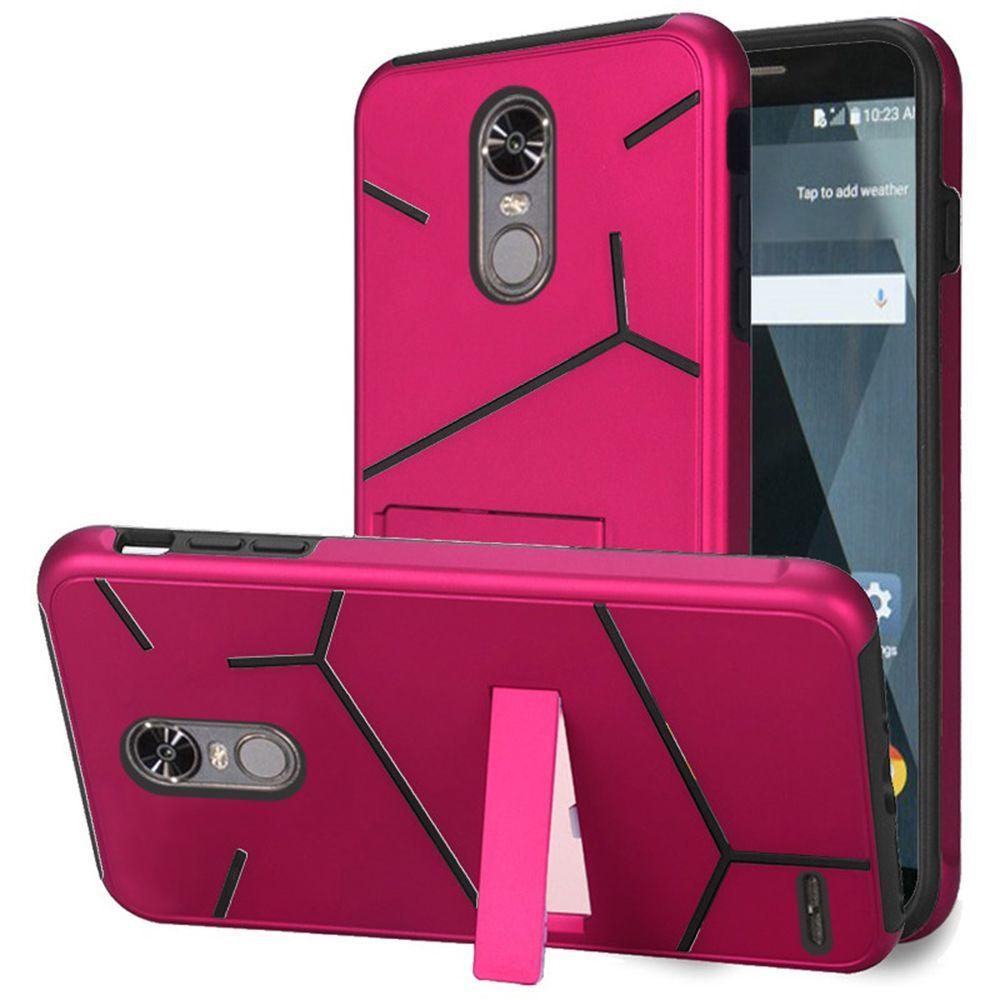 For LG Stylo 3 Stylo 3 Plus HLX Hybrid PC TPU with Kickstand - Hot Pink PC / Black TPU