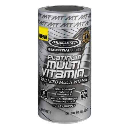 Muscletech Essential Series Platinum Multi Vitamins And Dietary Supplement Caplets 90 Count