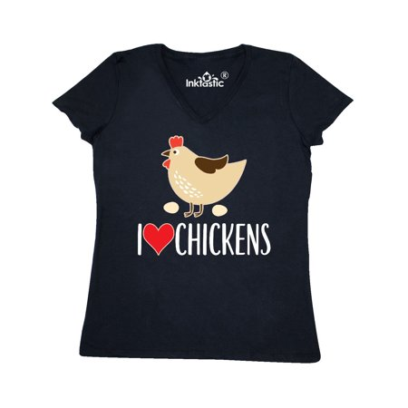 Chickens Cute Farm Animal Women's V-Neck (Cow Chicken T-shirt)