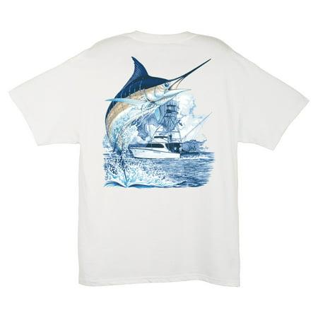 Guy Harvey Men's Marlin Boat T-Shirt (Boat T Tops For Sale In Florida)