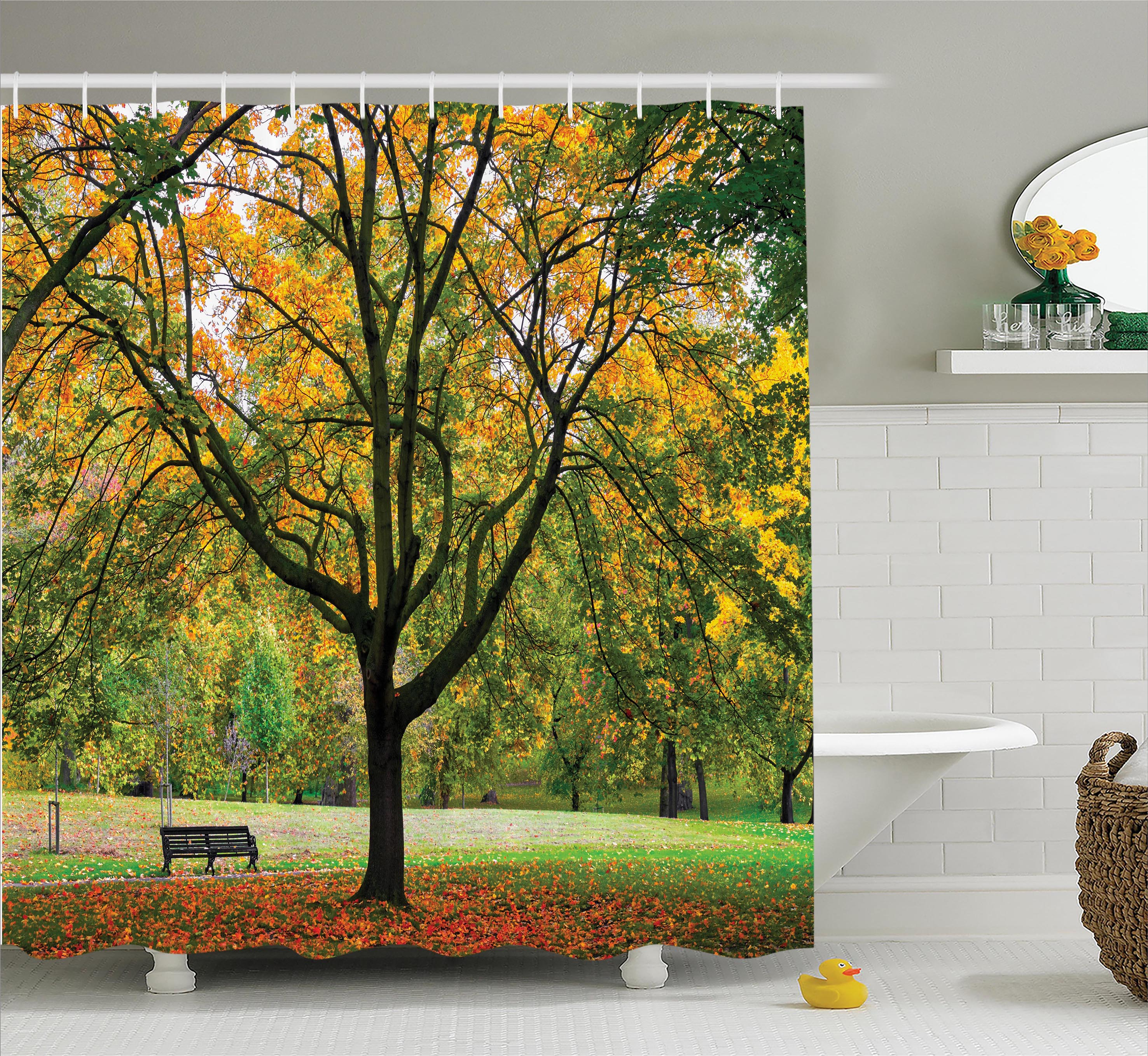 Farm House Decor Shower Curtain, Season Year in the Park Dead Leaves Autumn to Winter Seasonal Picture, Fabric Bathroom Set with Hooks, 69W X 75L Inches Long, Green Yellow, by Ambesonne