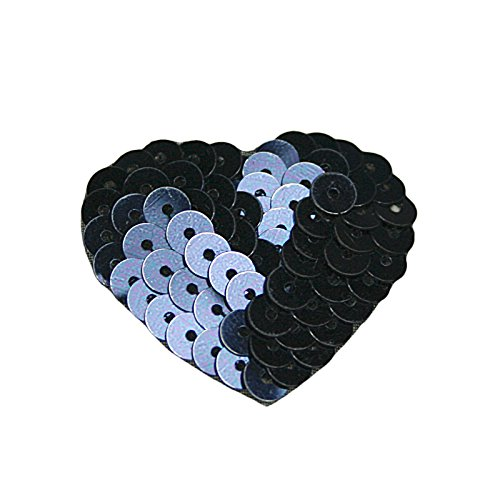 "Altotux 1-3/8""x1.25"" Beaded Sequins Navy Heart Sew On Applique Patch Motif Craft"