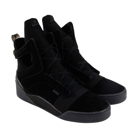 Radii Prism Mens Black Suede High Top Lace Up Sneakers (Mens Suede Sneakers Shoes)