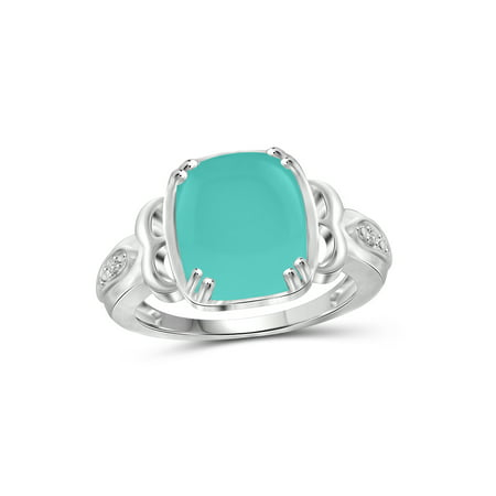 5 Carat T.G.W. Chalcedony and White Diamond Accent Sterling Silver Fashion Ring
