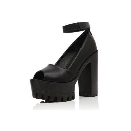 89eb3ebdd533 Women Platform Pumps Goth Strappy Open Toe Chunky High Heel Shoes Sandals -  Walmart.com
