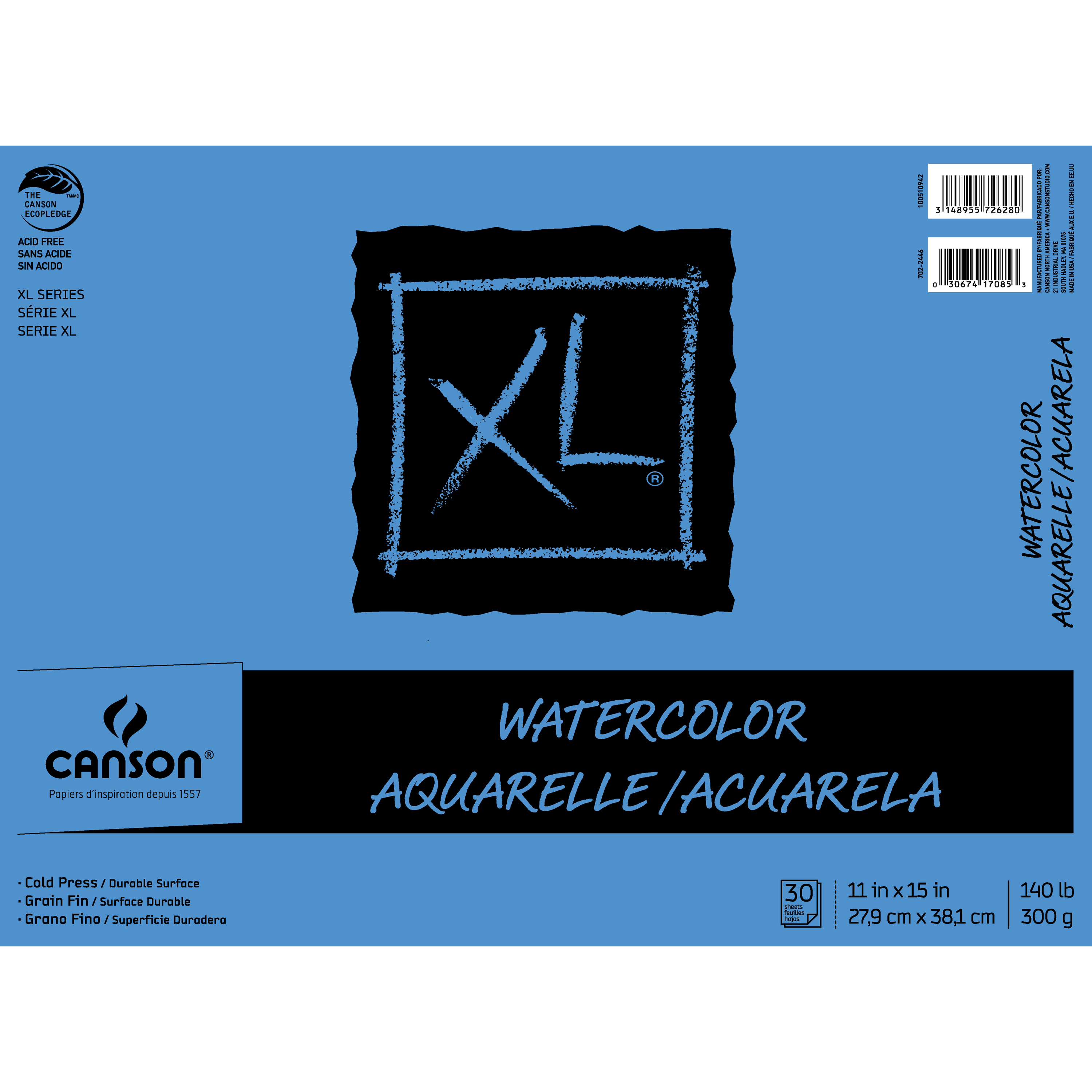 "Canson XL Watercolor 11"" x 15"" 30-Sheet Paper Pad"