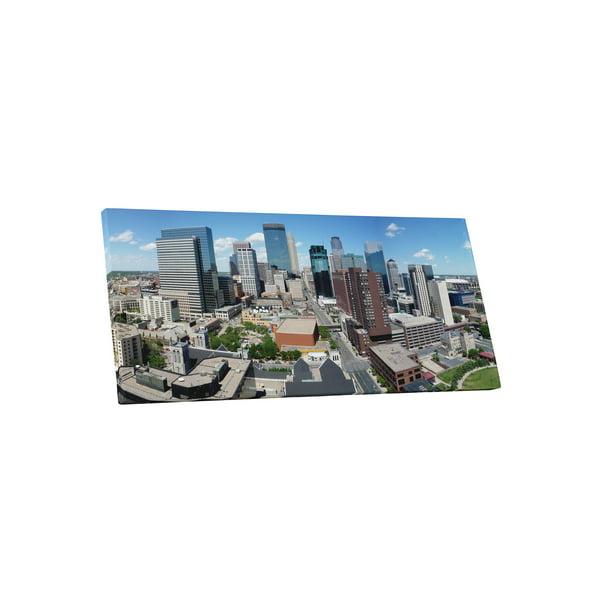 Minneapolis Skyline Panoramic Gallery Wrapped Canvas Wall Art Print 45 X 20 Walmart Com Walmart Com