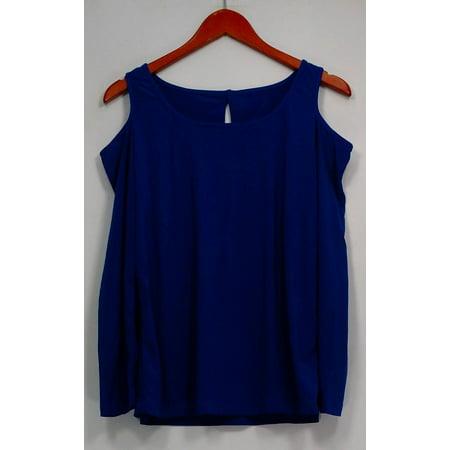 Carol Wior Top Sz M/L Long Sleeve Shaping w/ Cut Out Blue A229098