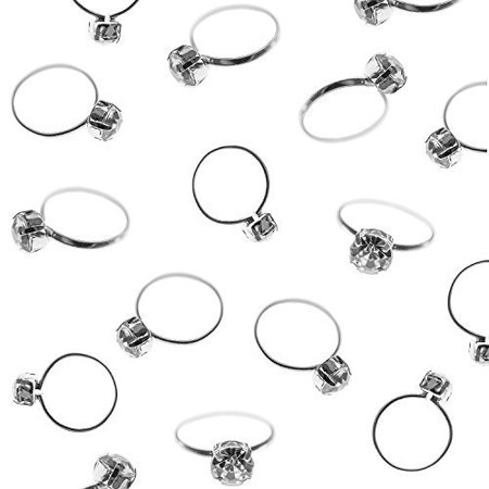 Silver Faux Diamond Engagement Rings for Wedding Table Scatter Cupcake Toppers Decorations (12 Pack) by Super Z Outlet](Easy Halloween Decorations For Cupcakes)