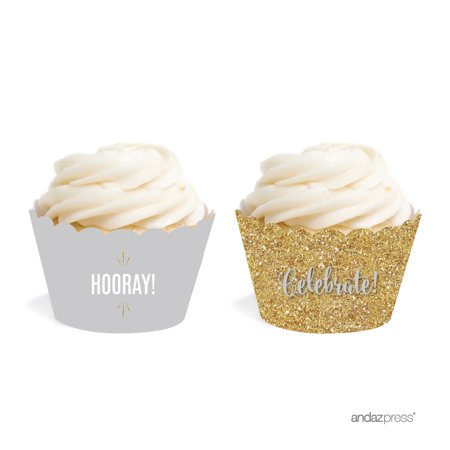 Signature Light Gray, White, Gold Glittering, Cupcake Wrappers, (Basic Grey Cupcake)