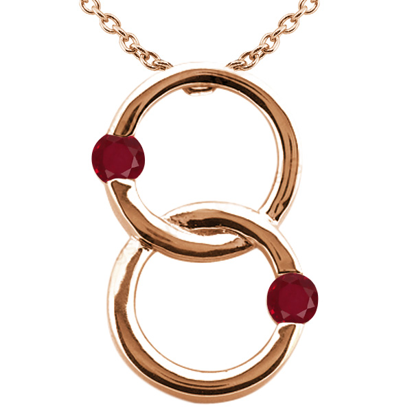 0.60 Ct Round Red SI1/SI2 Ruby 925 Rose Gold Plated Silver Pendant