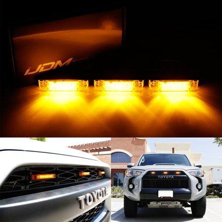 iJDMTOY 3pcs Amber Lens LED Grille Marker Lights w/Wiring For 2012-up Toyota Tacoma or 2014-up Toyota (Free Amber Lens)
