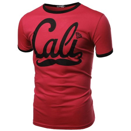 FashionOutfit Men's Round Neck Cali Moustache Printed Short Sleeve Tops](Moustache Sale)