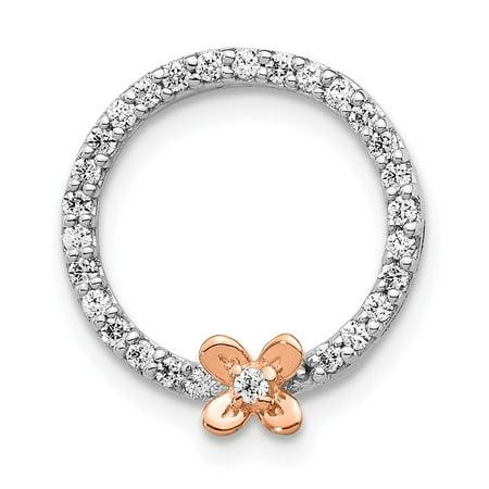 KIOKORI 14K Two-tone Gold Diamond Flower on Circle Pendant (Two Tone Flower Circle)