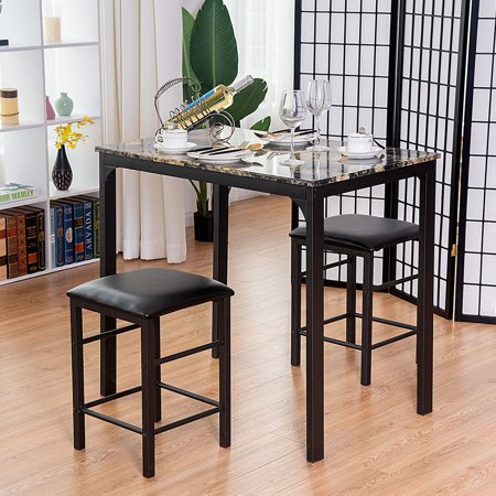 Faux Marble Counter - Costway 3 Piece Counter Height Dining Set, Faux Marble