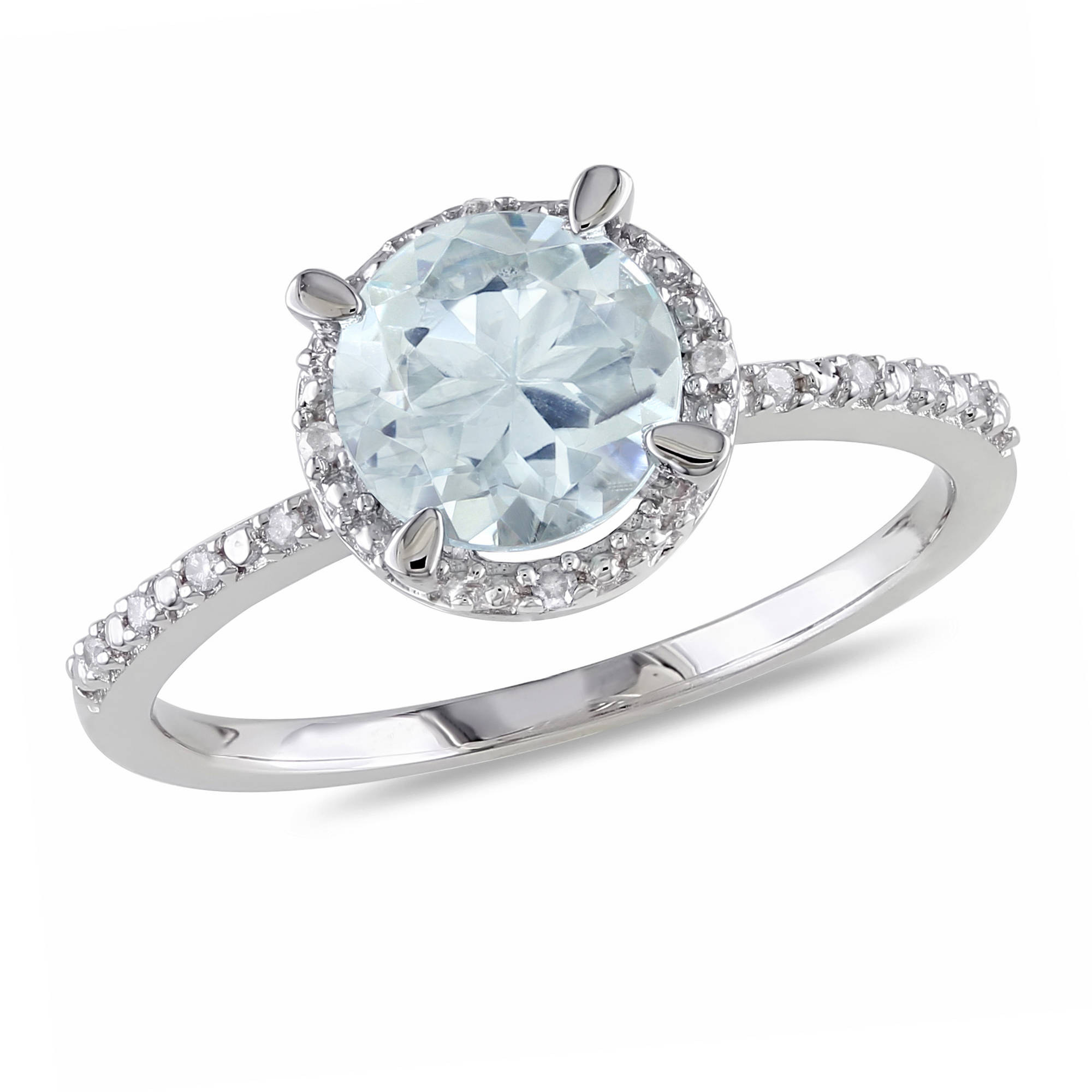 Tangelo 1-1/7 Carat T.G.W. Aquamarine and Diamond-Accent Sterling Silver Halo Ring