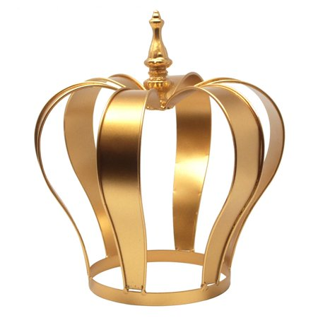 Gold Metal Crown Cake Topper Centerpiece, 10-Inch - Prince Crown Centerpieces