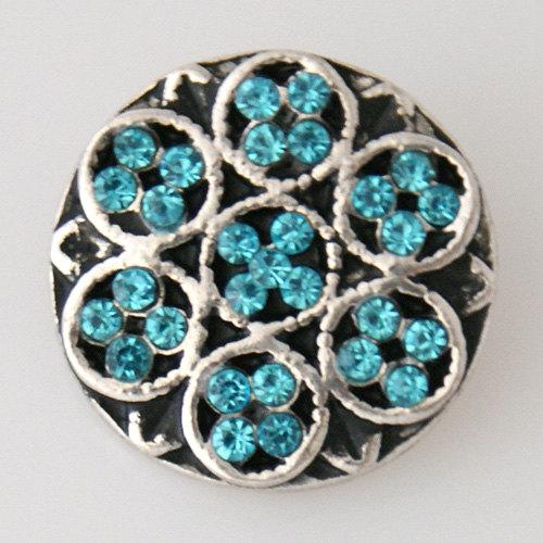 1 PC 18MM Blue Flower Rhinestones Silver Candy Snap Charm KB7527 CC0609