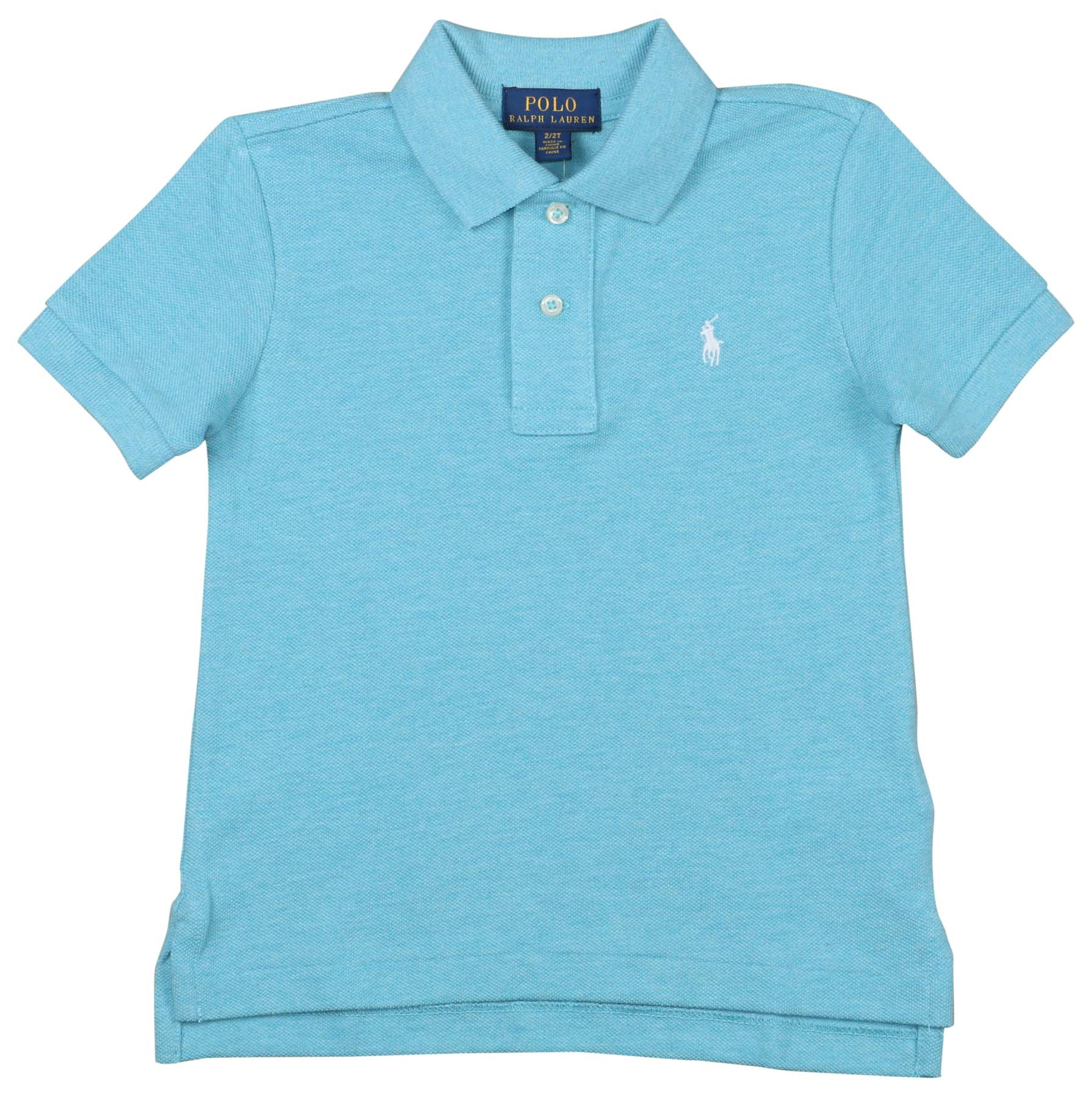 Toddler Boy Size 2 2T Ralph Lauren Turquoise Blue Logo Mesh Polo T-Shirt