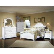 Panel Bed w Nightstand and Triple Dresser Set in Snow White Finish (Full)